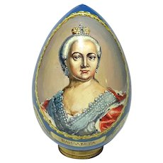 Russian Lacquered Portrait Egg