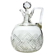 19th Century Cut Glass Handled Whiskey Decanter