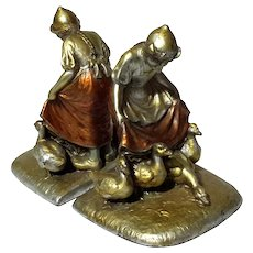 "Pair Of Cold Painted Spelter ""The Goose Girl"" Bookends, Circa 1920"