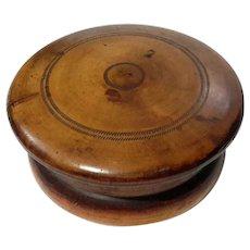 19th Century Wood Powder Box With Mirror