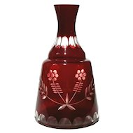 Bohemian Glass Ruby Cut To Clear Wine Decanter