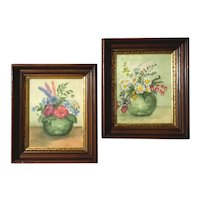 Pair Of 19th Century Walnut Picture Frames With Floral Watercolors