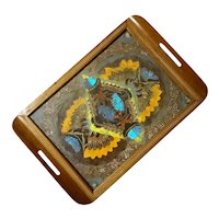 Brazilian Inlaid Wood Butterfly Wing Tray