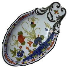Italian Faience Blue Carnation Pottery Olive Bowl