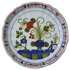 Italian Faience Blue Carnation Pottery Wine Bottle Coaster