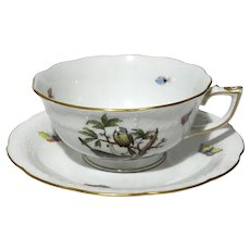 Herend Rothschild Bird Tea Cup And Saucer Motif 4