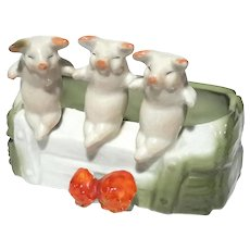 Three Little Pigs German Porcelain,  Circa 1890