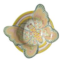 MacKenzie-Childs Hand Painted Pottery Butterfly Bowl