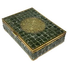 Stone Inlaid Brass Mexican Box With Mayan Calendar