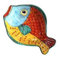 Large Italian Vietri Fish Platter Bowl
