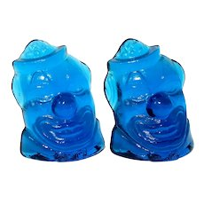 Pair Of Weatonware Blue Glass Clown Bookends
