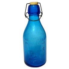 Vintage Italian Blue Glass Milk Bottle