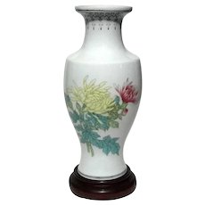 Vintage Signed Chinese Porcelain Vase On Rosewood Stand