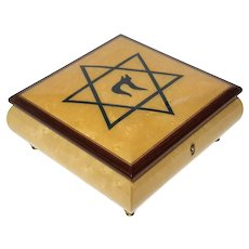 Sorrento Marquetry Inlaid Wood Music Box With Star Of David