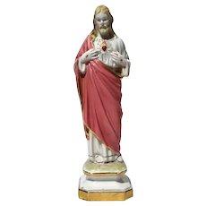 Antique Italian Porcelain Figure Of Sacred Heart Jesus