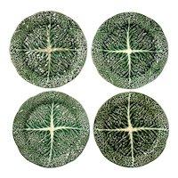 Set Of Four Antique Portuguese Majolica Plates