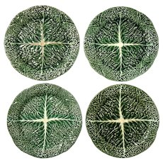 Set Of Four Antique Portuguese Majolica Plates