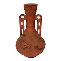 Antique Signed Chinese Terracotta Dragon Vase