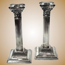 Vintage Silver Plated Column Candle Holders