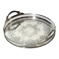 Silverplated Handled Gallery Tray