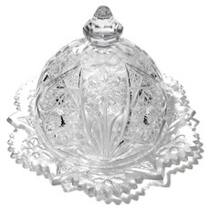 Early American Pattern Glass Dome Lid Butter Dish