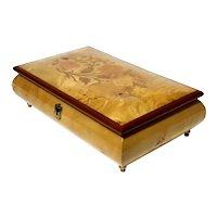 Vintage Italian Inlaid Wood Marquetry Music Jewel Box