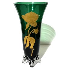 Moser Emerald Green Vase With Gold Etched Peony