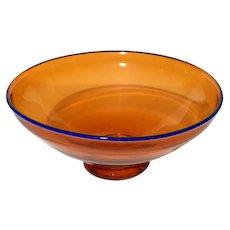 Ed Francis Off Center Studio Art Glass Bowl