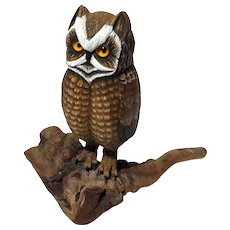 Hand-Carved And Painted Wood Owl On Burl Wood Base