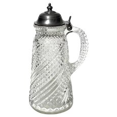 Early American Pattern Glass Syrup Pitcher