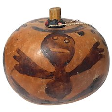 African Painted Calabash Gourd Vessel