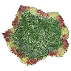 Bordallo Pinheiro Large Majolica Leaf Plate