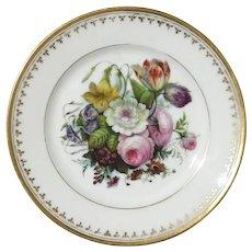 19th Century Old Paris Porcelain Hand-Painted Floral Plate