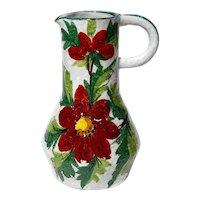Mid-Century Vintage Italian Faience Glazed Pottery Pitcher
