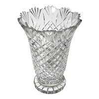 Monumental Polish Hand-Cut Lead Crystal Vase