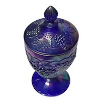 Imperial Grape Carnival Glass Lidded Pedestal Candy Dish
