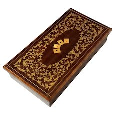 Italian Inlaid Marquetry Wood Playing Card Box