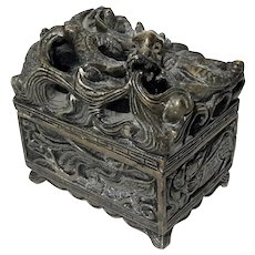 Chinese Carved Soapstone Dragon Box