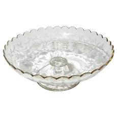 Moser Glass Scalloped Edge Pedestal Candy Dish