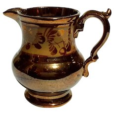 Antique Copper Luster Pottery Pitcher