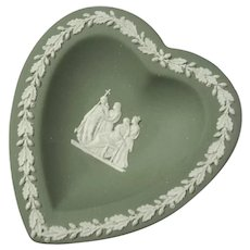 Vintage Wedgwood Green Jasperware Heart Dish