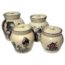 Set Of Four Birdhouse Pottery Canisters By HOME & GARDEN PARTY