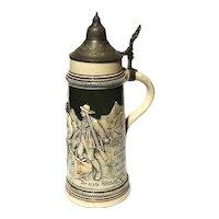 Antique German Beer Stein With Pewter Lid