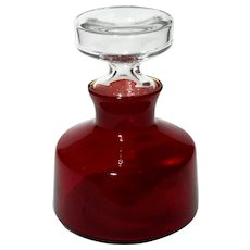Blenko Glass Ruby Red Decanter With Clear Stopper