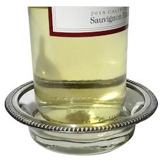 Vintage Sterling Silver Rimmed Glass Wine Bottle Coaster