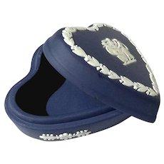 Wedgwood Dark Blue Jasperware Heart Box