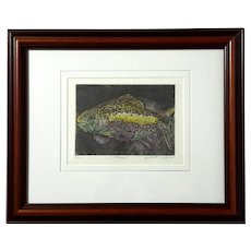 Original Signed Trout Engraving By Judith F Bodman