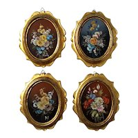 Set Of Four Florentine Gold Framed Miniature Floral Paintings