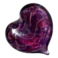 Signed Art Glass Heart Paperweight