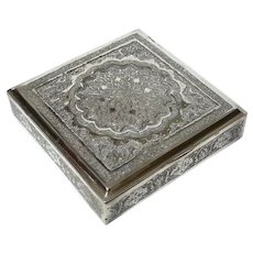 Antique Anglo-Indian Hand-Chased Sterling Silver Box